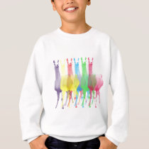 six lamas in six llama colors sweatshirt