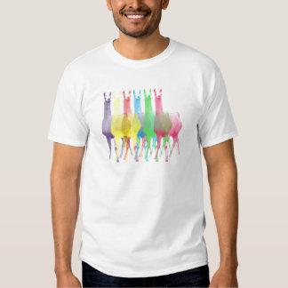 six lamas in six llama colors tee shirt