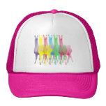 six lamas in six llama colors trucker hats
