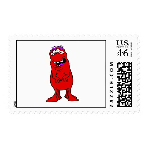 Six legged red & purple Alien Postage Stamps