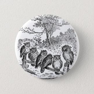 Six Little Owls Sitting on a Broken Down Fence Pinback Button