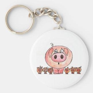 Six Little Pigs Basic Round Button Keychain