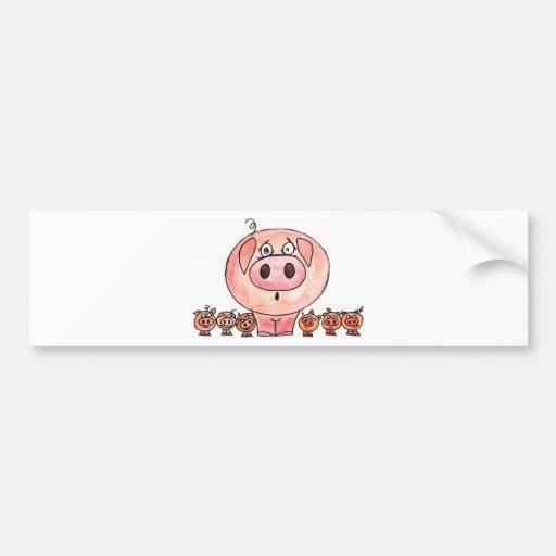 Six Little Pigs Car Bumper Sticker