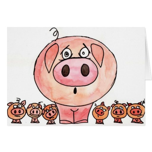 Six little pigs greeting cards