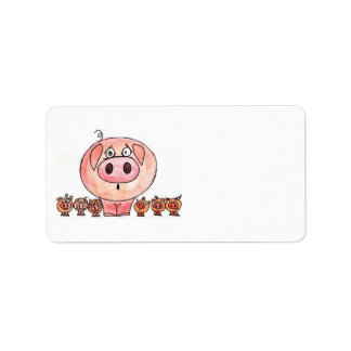 Six Little Pigs Personalized Address Label