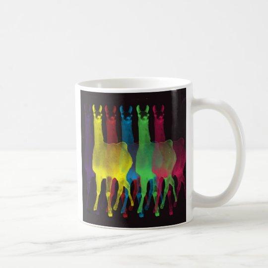 six llamas in six colors coffee mug
