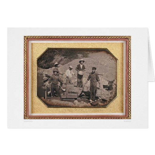 Six miners with rocker, wheel barrows... (40046) greeting card
