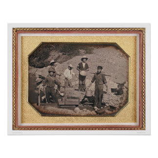 Six miners with rocker, wheel barrows... (40046) poster