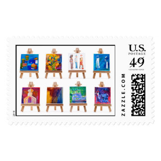 Six mini paintings on easels isolated on white postage stamps