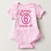 Six Months Personalized Pink Moon Baby Girl Tutu Baby Bodysuit