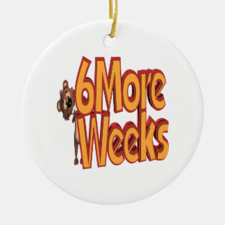 Six More Weeks Double-Sided Ceramic Round Christmas Ornament
