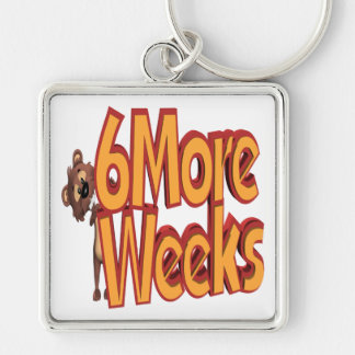 Six More Weeks Silver-Colored Square Keychain