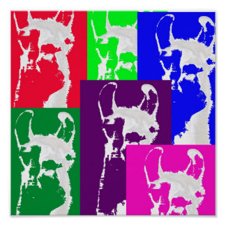 Six Mulitcolored Llamas. Poster