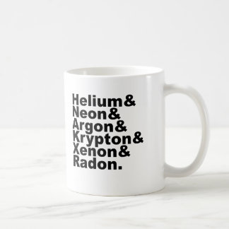 Six Noble Gases on the Periodic Table of Elements Classic White Coffee Mug