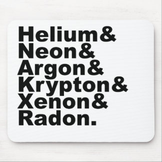 Six Noble Gases on the Periodic Table of Elements Mousepad