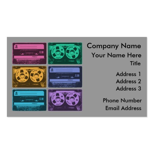 six old school cassette tapes business card templates