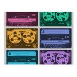 Six Old School Cassette Tapes Postcard