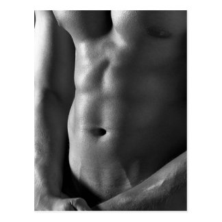 Six Pack Abs Hunk Guy Pinup Template Postcard