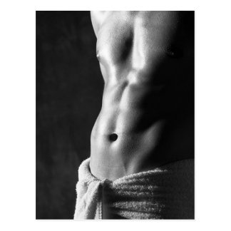 Six-Pack Abs Pinup Hunky Guy Template Postcard