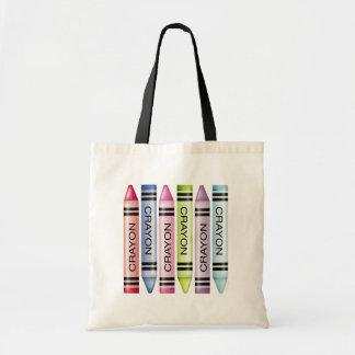 Six Pastel Crayons Budget Tote Bag