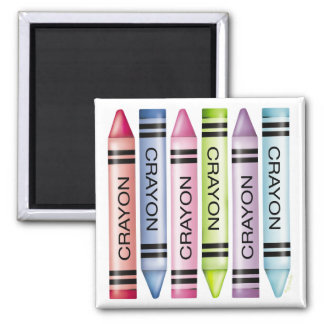 Six Pastel Crayons Magnets