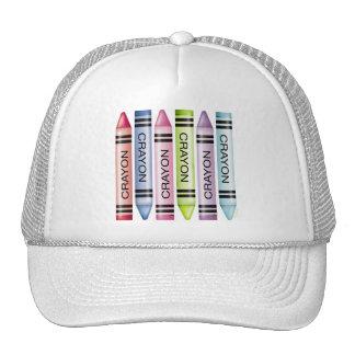 Six Pastel Crayons Mesh Hats