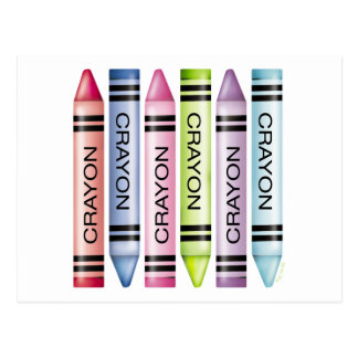 Six Pastel Crayons Postcard