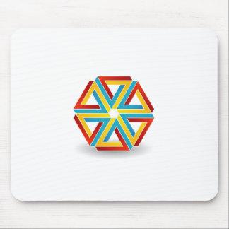 Six penrose triangles shaped like star mousepads
