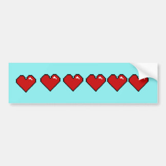 Six Pixel Hearts Bumper Sticker