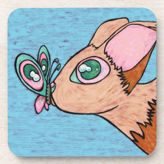 Six Plastic Coasters, Curious Butterfly Friend Coaster