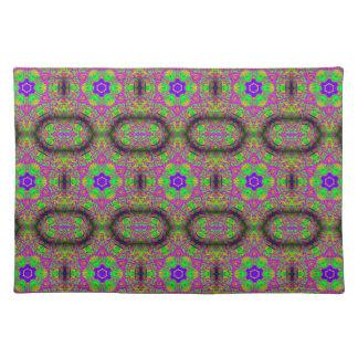 six-point flower/stars purple green blue placemat