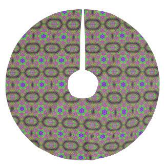 six-point flower stars purple green brushed polyester tree skirt