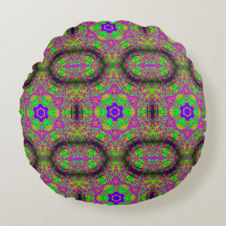 six-point flower stars purple green round pillow