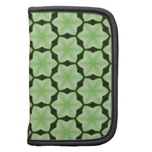 Six Point Green Star Pattern Folio Planner