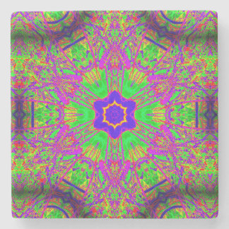 six-point star purple green stone coaster