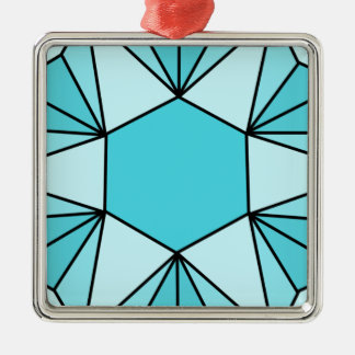 Six Pointed Star Gem3 Metal Ornament