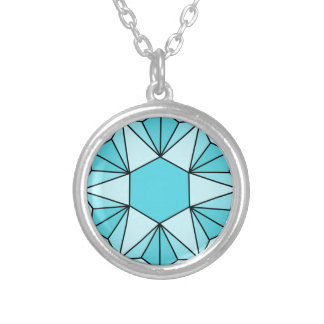 Six Pointed Star Gem3 Round Pendant Necklace