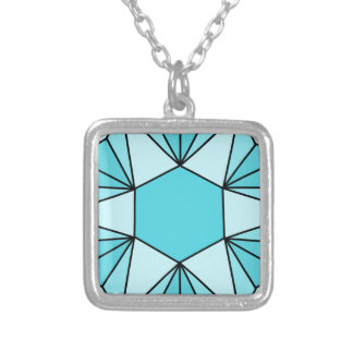 Six Pointed Star Gem3 Square Pendant Necklace