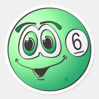 Six Pool Ball Cartoon Classic Round Sticker