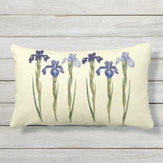 Six Purple & Blue Iris Outdoor Lumbar Pillow
