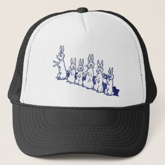 Six Rabbits Sit Up and Clap Their Paws Trucker Hat