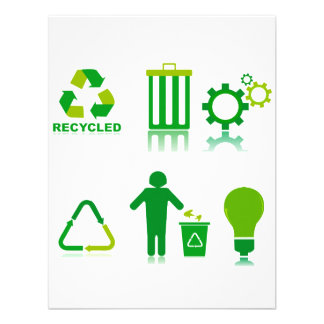 six recycling designs on one png custom invite