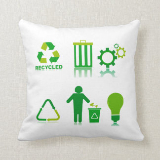 six recycling designs on one.png throw pillow