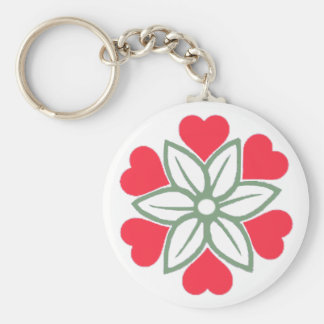 Six Red Hearts Flower Key Ring Key Chain