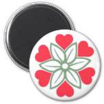Six Red Hearts Flower Magnet