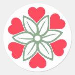 Six Red Hearts Flower Sticker