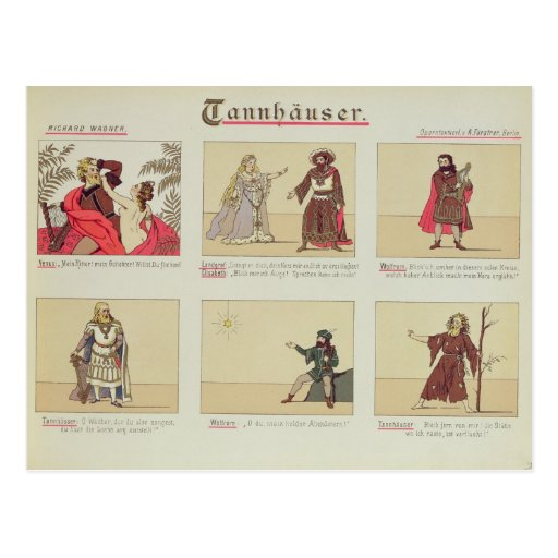 Six scenes relating to the opera 'Tannhauser' Postcard
