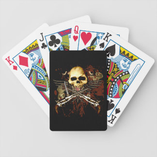Six shooters with skull playing cards