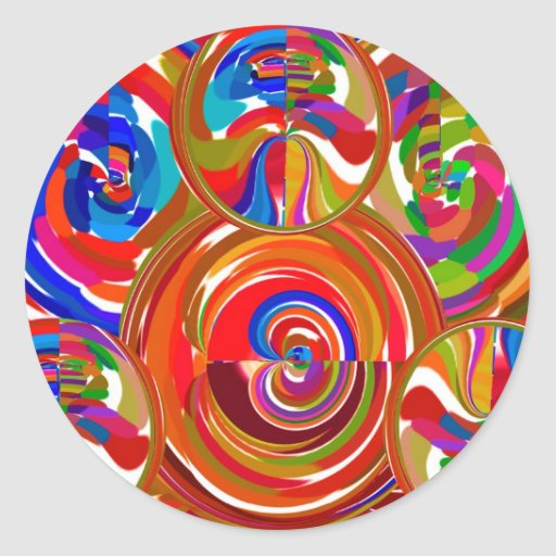 Six Sigma Circles - Reiki Color Therapy Plates V8 Round Stickers
