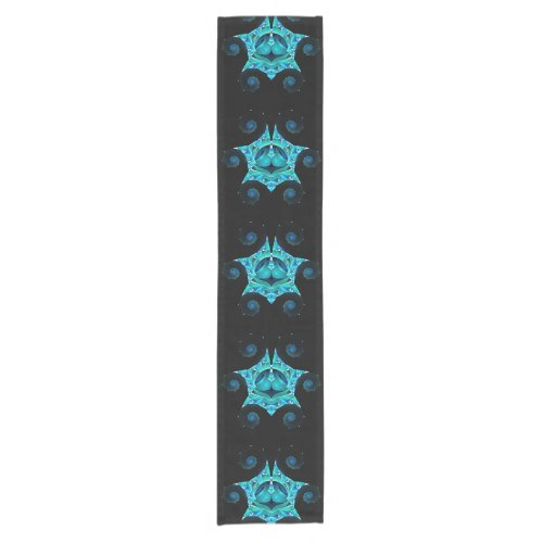 Six Teal Spirals Short Table Runner